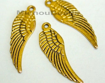 25 Antiqued GOLD 30mm ANGEL Wings - 30x9mm Double Sided Archangel Feather Wing - Nickel Free Metal Charm Pendant - USA Seller - 5578