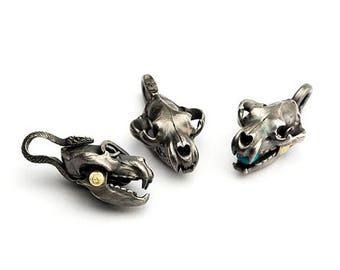 Silver Skull Pendant | Grizzly Bear Skull Pendant | Skull Jewelry | Animal Skull Pendant | Oxidized Silver Pendant | Snake Charm Turquoise