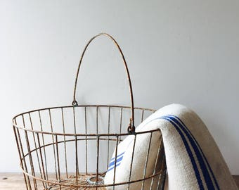 Vintage French Large Size Wire Farm Baskets with Handle, French egg basket, farm basket, Wire Basket