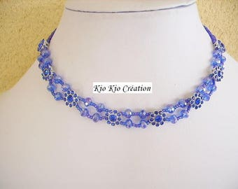 Necklace, Choker, blue cobalt, rhinestone spacer bead faceted rock crystal glass, nylon, silver plated wires, fashion accessory