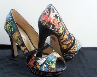 Classic Horror Heels Halloween Heels Gothic Wedding Heels Monster Heels Monster Shoes Horror Shoes Dracula Heels Bride Of Frankenstein Heels