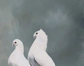 SALE! Unsatisfied With Any Reaction Short Of Breathless Amazement 12 x 12 Art Print - Bird - Pair - Giclee - Doves - Nature - Gift