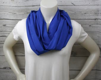 Royal Blue Infinity Scarf, Solid Blue Scarf, Blue Infinity Scarf, Eternity Scarf, Dark Blue Scarf, Dark Blue Accessory, Royal Blue Accessory