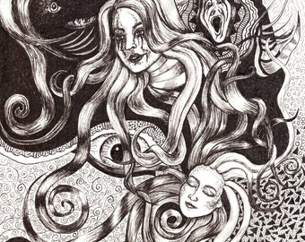 Fine Art Print, A3, Pen Drawing, Poster, Visionary Art, Psychedelic Art, Black and White, Surreal, Spiritual Art, Abstract Art, Home Decor