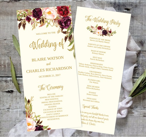 Wedding Program Template Printable  Editable X Fall