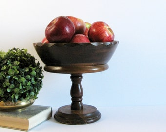 "Vintage Turned Wood Bowl - Pedestal Compote Bowl - 9"" Diameter Wood Fruit Bowl - Dark Wood Planter - Mid Century Decor - Wood Home Decor"
