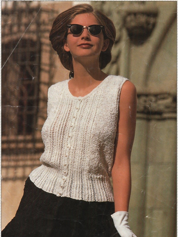 Knitting Pattern Ladies Womens Lace Top Knitted Vest Top