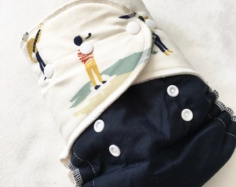 ORGANIC One Size Fitted Hybrid Cloth Diaper Sailors Ahoy