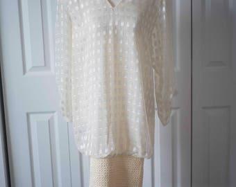 80's does 1920's    Flapper Dress    White Vintage Downton Abbey