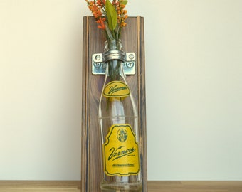 Reclaimed Wooden Wall Vase w/Vintage Vernors Bottle  6404 Woodward Ave