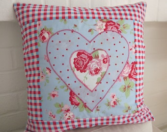 Handmade  Cushion Cover with Appliqued Hearts
