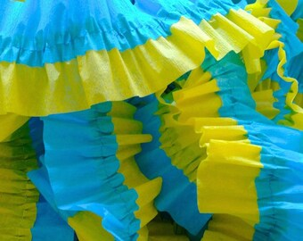 Canary Yellow and Turquoise Ruffled Crepe Paper Streamers - 36 Feet - Party Decorations Supplies