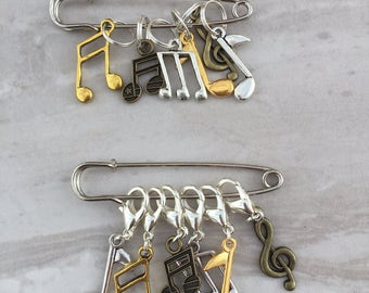Music Note Charm Stitch Markers, stitch markers, knitting supplies, progress markers, craft supplies, crochet markers