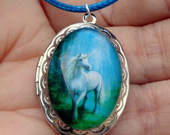 White Unicorn Portrait, Locket Necklace, Teal Blue, Braided Leather Cord Necklace