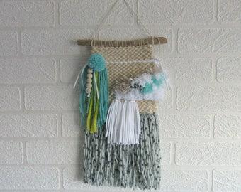 Woven Wall Hanging Weave Weaving Woven Texture Fiber Art Tassels Pom Poms Cream Grey White Turquoise Lime Nursery Room Decor