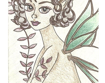 Lovely Curls Fairy ACEO Original Drawing Artist Trading Card Fantasy Art