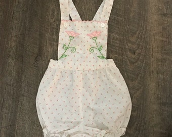 Vintage Flower Bud Print and Floral Embroidery Sunsuit