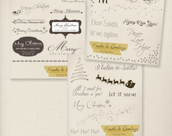 Photography Words Overlays Set - Holiday set, Christmas overlays - 3x set - INSTANT DOWNLOAD