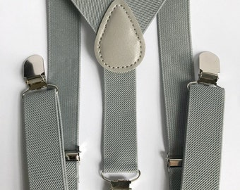 Bowtie & Suspenders- Gray Suspenders/Baby and Toddler Bowties/Birthday/Wedding Party