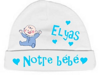 Our baby personalized with name White baby bonnet