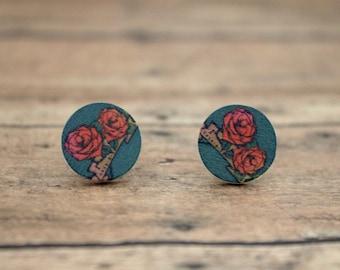 Vintage Rose Pattern Round Wood Stud Earrings