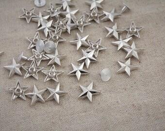 50Pcs 15 mm /  Silver Star/  Rivets /Silver  Stud /#12