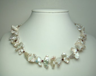 Pearl Necklace - AA 17.5 inches 7-18mm White Freshwater Keshi Pearl Necklace- Free matching earring