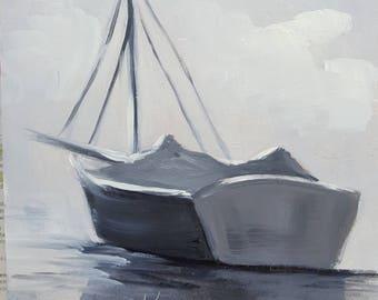 Black and White SailBoat,oils panel,Barbsgarden,Barbara Haviland,Texas Artist