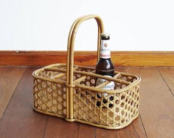 Vintage bottle carrier, rattan original Denmark 60s, woven wicker, scandinavian beer carrier midcentury