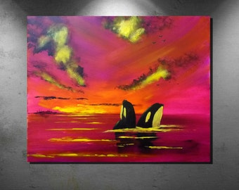 Abstract paintings, Acrylic paintings, large art painting, wall art canvas, large original painting, Orca Whale painting