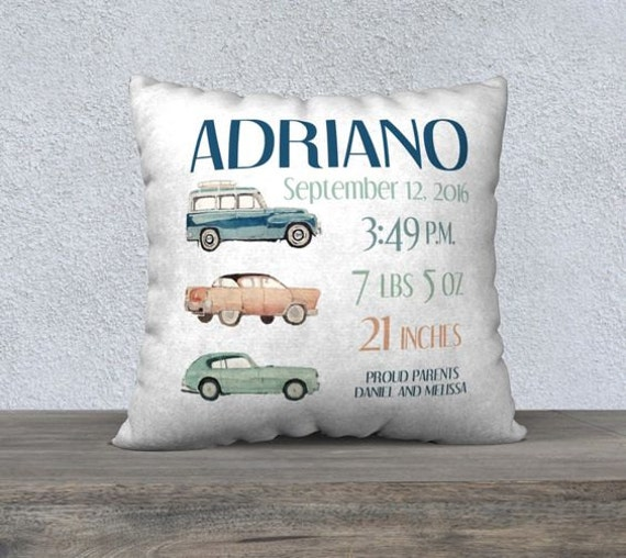 Vintage car personalized birth pillow personalized baby request a custom order and have something made just for you negle Choice Image