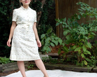 Vintage 60s Marshall Field's Dress - Off-White Embroidered Deadstock LG