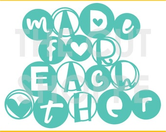 The Made For Each Other phrase, can be used for your scrapbooking and papercrafting projects.