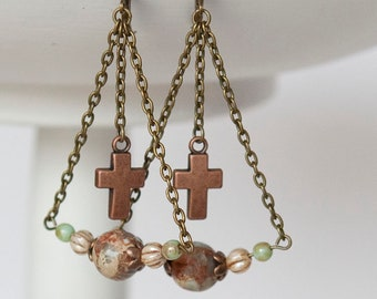 Christian earrings, Mother's day earrings, cross earrings, dangle earrings, beaded earrings, swing earrings, jasper earrings
