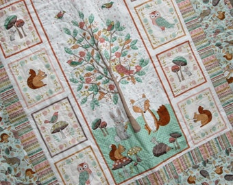 Baby Quilt, Woodland Quilt, Bunny Quilt, Fox Quilt, Toddler Woodland Quilt, Gender Neutral Baby, Baby Boy, Baby Girl, Shower Gift