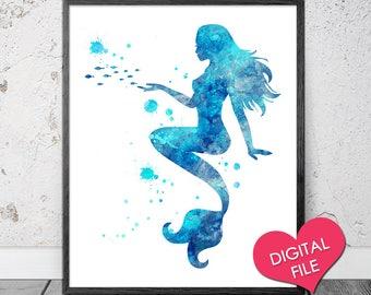 Mermaid Watercolor, PRINTABLE Art, Instant Download, Watercolor Mermaid Printable, Mermaid Wall Art, Mermaid Art, Mermaid Prints, Nursery