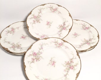 Set of 6 dessert/salad plates floral and gold lined print shabby chic/cottage decor