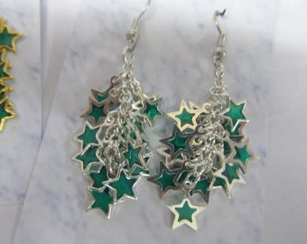 green falling stars cluster earrings