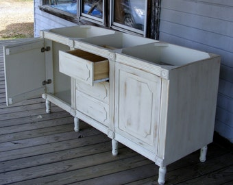 French Shabby Chic IVORY Double Bathroom Vanity Two Doors and Three Drawers