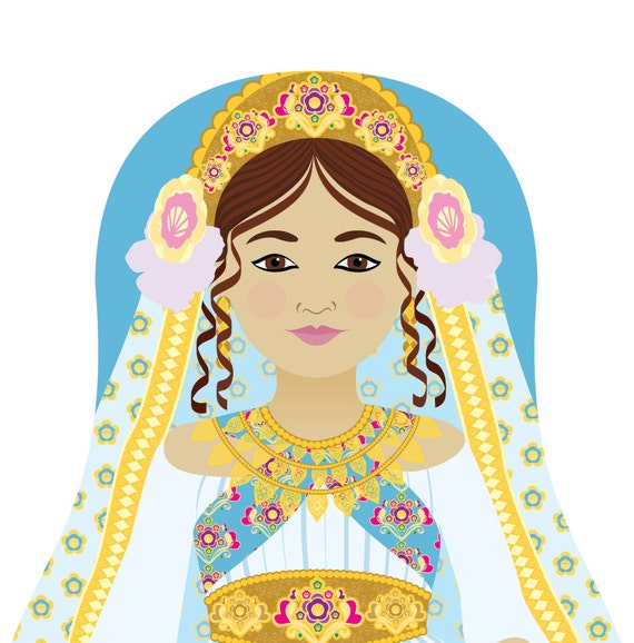 Queen Esther Doll Art Print with traditional dress, matryoshka