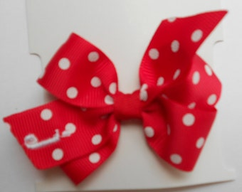 Infant Initial, Hair Bow, Monogrammed Red, Polka dots, Baby Toddler, Clippie Clip, Ribbon Tiny, Small Hairbow, Personalized Gift, New girls
