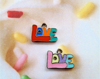 Enameled/Painted/Colored Love Charms --4 pieces-(Nickel Plated)--style 930-