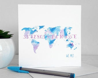 Where we met...design greetings card from my watercolour world map design - personalised custom co-ordinates, colours and printing
