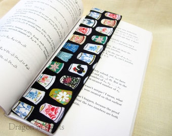 Thimbles Fabric Bookmark - black cotton reading accessory for sewing enthusiastics or thimble collectors, floral rooster butterfly