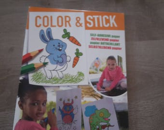 Coloring book repositionable stickers sheets