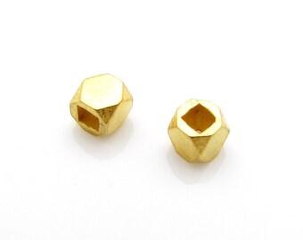 2 Pcs, 4mm, 24k Gold Vermeil Bead Spacers