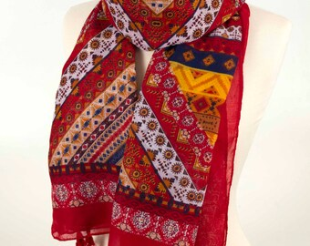 Red Geometric Scarf, Boho Scarf, Colorblock Scarf, Indian Scarf, Large Scarf, Tassel Scarf, Colorful Scarf, for him, for her, Long Scarf