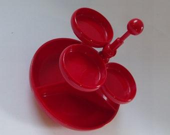 Emsa Germany red party tray, snack tray, party dish, 1970s