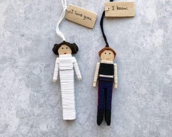 Han Solo and Princess Leia Ornaments | Star Wars Custom Gift | Anniversary Gift Set | Han Solo and Leia Clothespin Dolls