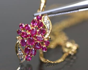 estate 18k Yellow gold Natural untreated Ruby & Diamond Necklace chain set 2.55